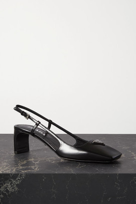 Prada 55 Logo-embellished Leather Slingback Pumps - Black