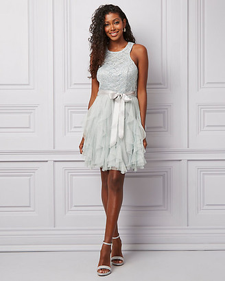 Le Château Sparkle Lace & Chiffon Ruffle Party Dress