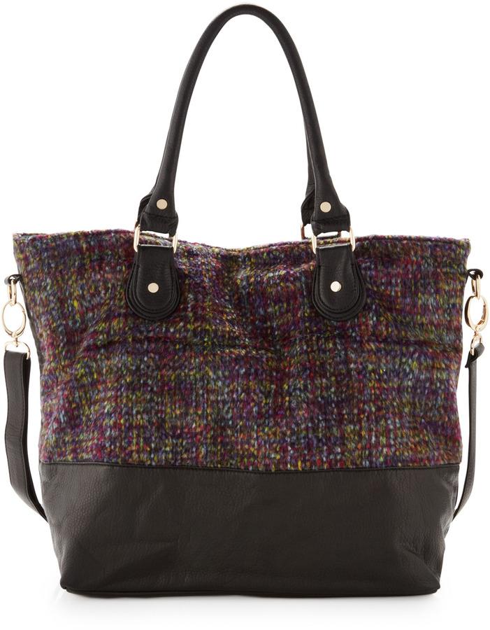 Neiman Marcus Tweed-Leather Tote, Purple