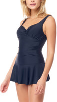 Sea And Sand Sea and Sand Women's One Piece Swimsuits - Black Wrap-Front Underwire Swim Dress - Women