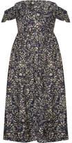 Apiece Apart Novella Maria Off-the-shoulder Printed Cotton And Silk-blend Midi Dress - Indigo