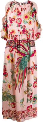 RED Valentino Exotic Bird-Print Crepe Dress