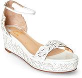 Christian Louboutin White Harumineral Laser-Cut Platform Wedge Sandals