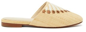 Zyne - Beaded And Embroidered Raffia Babouche Mules - Bronze