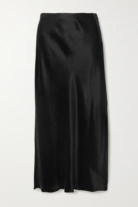 Vince Hammered-satin Midi Skirt - Black