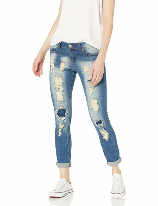 V.I.P.JEANS Junior's Distressed Patched Skinny Ripped Jeans