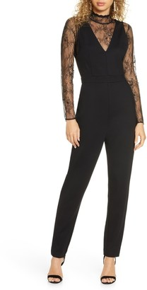 French Connection Tabetha Lace Jersey Jumpsuit