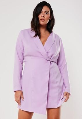 Missguided Plus Size Lilac Asymmetric Blazer Dress