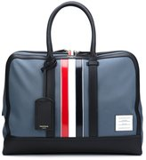 Thom Browne Day Bag With Red, White And Blue Leather Stripe In Mackintosh