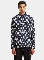 Valentino Star Print Poplin Shirt In Navy
