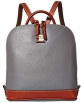 Dooney & Bourke Pebble Zip Pod Backpack (Slate/Tan Trim) Backpack Bags