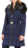 GUESS Mock Neck Zip Front Belted Puffer Faux-Fur Hooded Coat