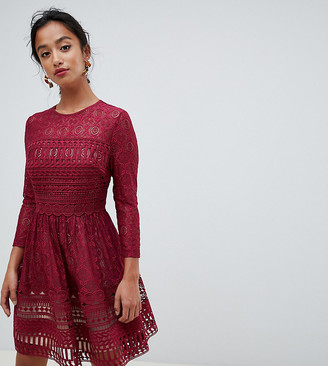 ASOS DESIGN Premium Petite lace mini skater dress
