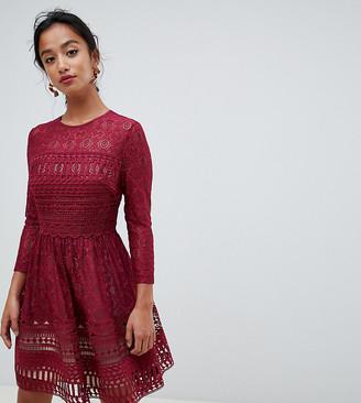 Asos DESIGN Premium Petite lace mini skater dress-Red