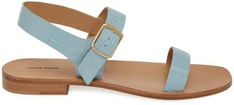 Mansur Gavriel Croc Embossed Buckle Sandal - Light Blue