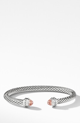 David Yurman Cable Classics Bracelet with Morganite & Diamonds, 5mm