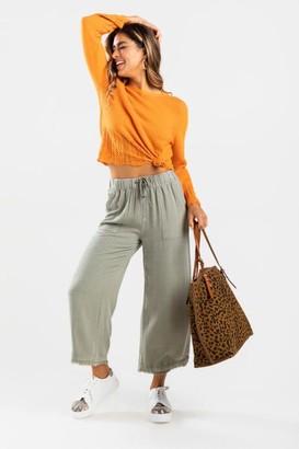 francesca's Eryca Large Pocket Culotte Pants - Sage