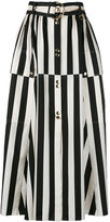 Nina Ricci striped A-line midi skirt - women - Silk - 34