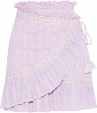 Love Sam Ruffle-trimmed Embroidered Cotton-gauze Mini Wrap Skirt