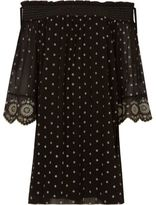 River Island Womens Black embroidered smock swing dress