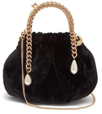 Rosantica Maria Luisa Chain-handle Velvet Clutch - Black Multi