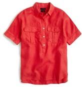 J.Crew Women's Cross Dyed Irish Linen Popover Shirt