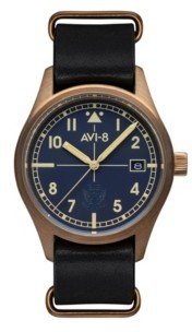 AVI-8 Men's Flyboy Automatic Eagle Squadron Bronze Edition Gift Set with Gray Genuine Leather Strap Watch 39mm and Additional Nylon Nato and Leather Nato Straps