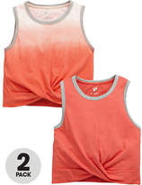 Very Pack of Two Twist Crop Tops in Pink Size 15-16 Years