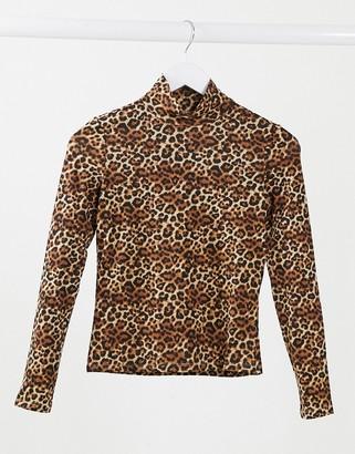 Monki Vanja organic cotton leopard print top in brown