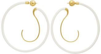 Panconesi Gold and White Upside Down Hoop Earrings