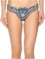 Red Carter Feather Warrior Reversible Classic Side Strap Bottoms Women's Swimwear