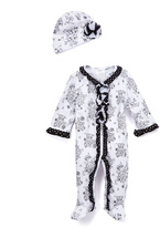 Baby Essentials White & Black Toile Footie & Beanie - Infant