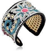 Chamak by Priya Kakkar Maroon Black Velvet Beaded Cuff Bracelet