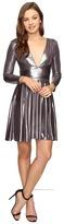 Halston Long Sleeve V-Neck Draped Waist Metallic Jersey Dress