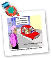 3dRose LLC qs_1665_1 Londons Times Funny Society Cartoons - Drive By Compliments, Gangs Who Love Too Much - Quilt Squares