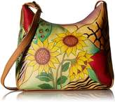 Anuschka Anna by Genuine Leather Hobo Shoulder Bag | Hand Painted Original Artwork | Sunflower Safari