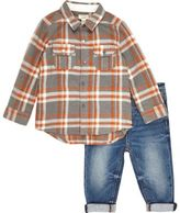 River Island Mini boys melange check shirt outfit