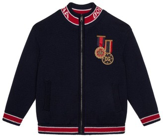 Dolce & Gabbana Kids Insignia Embroidery Zip-Up Jacket (8-12 Years)