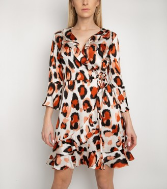 New Look Gini London Animal Print Frill Wrap Dress