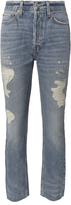RE/DONE High-Rise Ankle Crop Distressed Jeans