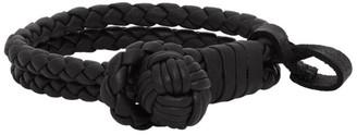 Bottega Veneta Black Woven Leather Bracelet