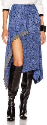 Chloé Tie Midi Skirt in Multicolor Blue   FWRD