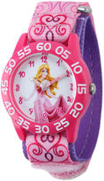Disney Aurora Kids Pink Printed Nylon Strap Watch