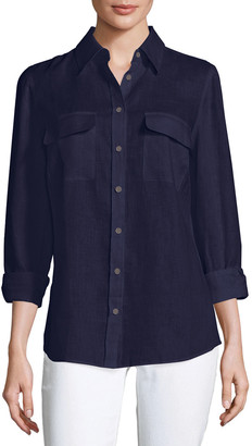 Go Silk Petite Long-Sleeve Button-Front Linen Top