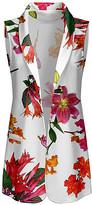 Lily Women's Dresswear Vests WHT - White & Pink Floral Sleeveless Open Cardigan - Women & Plus