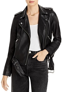 Aqua Belted Cropped Leather Moto Jacket - 100% Exclusive