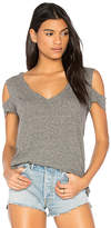 Pam & Gela V-Neck Cold Shoulder Tee in Gray. - size L (also in M,S,XS)