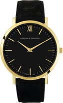 Larsson & Jennings Lader Black gold-plated and leather watch