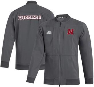 adidas Men's Gray Nebraska Cornhuskers Sideline Full-Zip Bomber Jacket