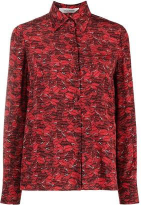 Valentino Lip Print Silk Shirt